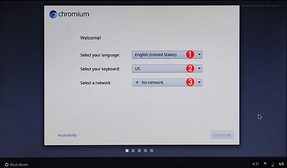 Chromium OSの初期設定画面