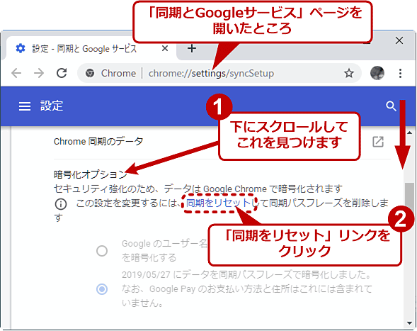 Chromeの同期データを管理するためのWebページを呼び出す