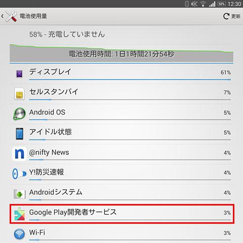 バッテリーの電力を消費しているGoogle Play開発者サービス