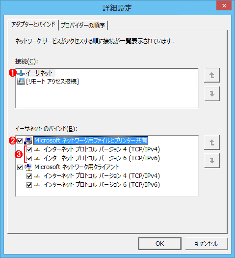 ネットワークインターフェースとプロトコルのバインド(Windows 8.1)