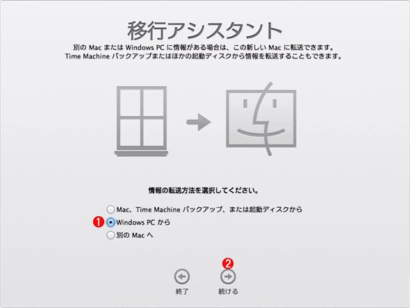 Mac OS Xの移行アシスタント(1)