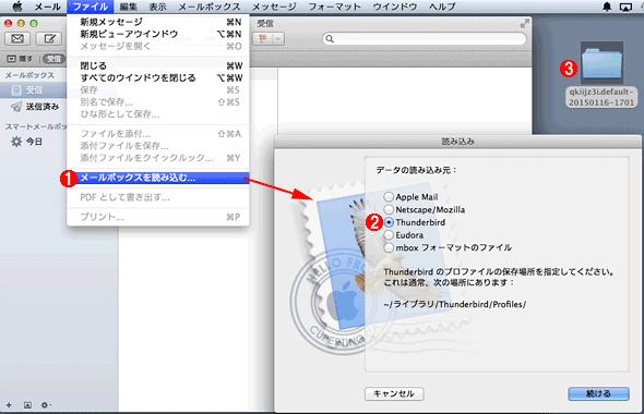 ThunderbirdでエクスポートしたデータをMail.appに読み込む