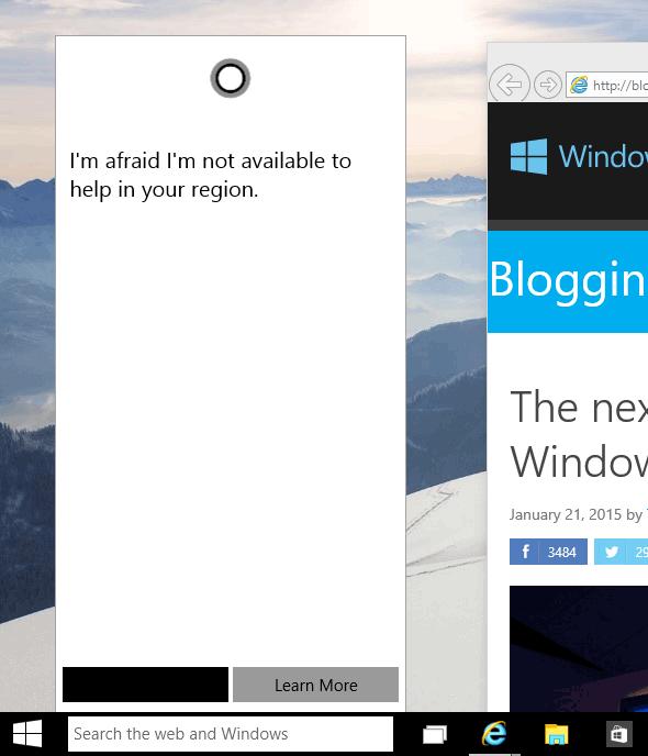 Cortanaの起動画面