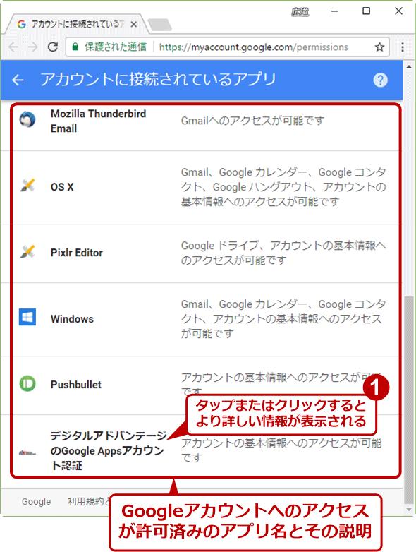 Googleアカウントにアクセス可能なアプリやサイト、サービスを確認する
