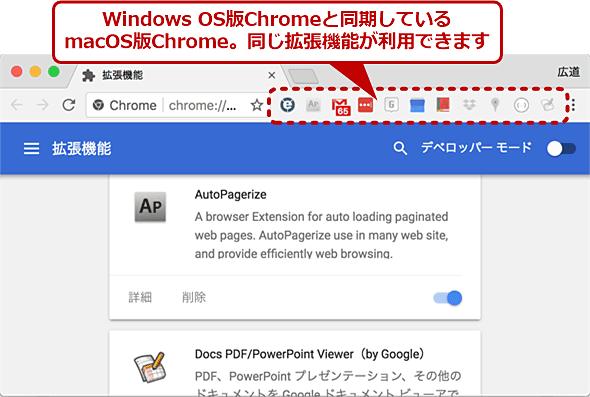 macOS版Chromeにインストールされた拡張機能