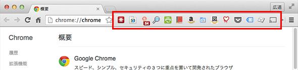 Mac OS X上のChromeにインストールされた拡張機能