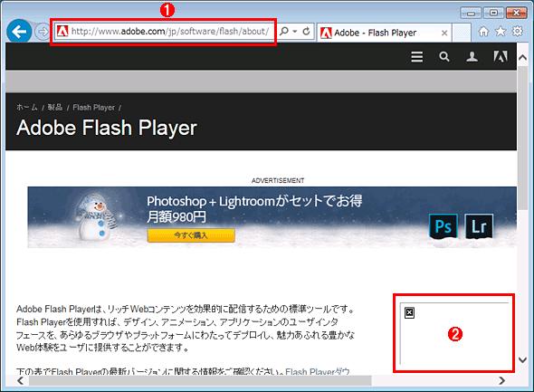 IEでFlash Playerが無効化されたか確認する