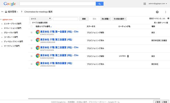 [管理画面]の[端末管理]−[Chromebox for meetings]−[Chromebox for meetings 端末]の画面