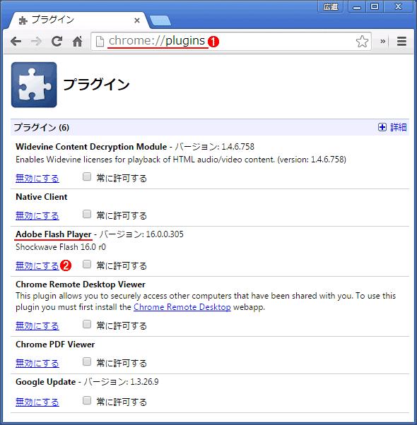Chromeのプラグイン管理画面でFlash Playerを無効化する