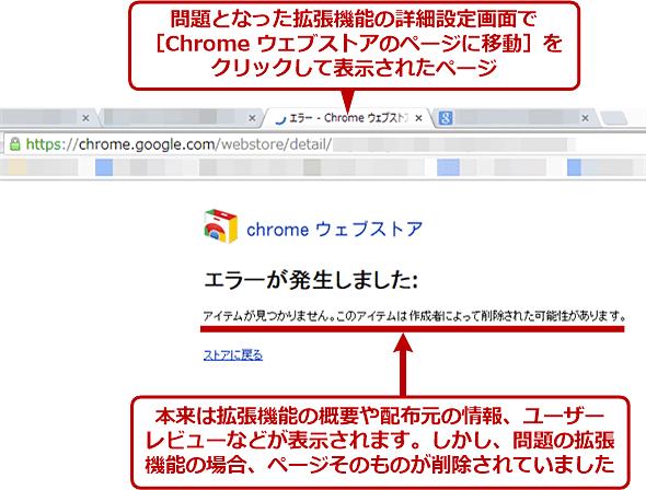 トラブルの原因となった拡張機能はChromeウェブストアから削除されていた