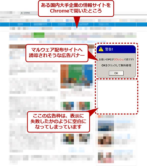Chromeで「怪しい」広告が表示される、という報告のあったWebページ