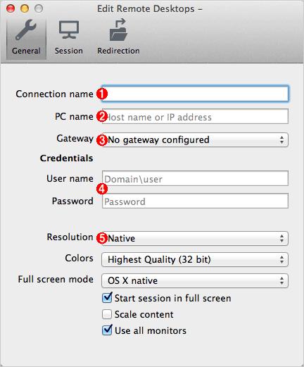 [Edit Remote Desktops]ウィンドウの設定項目