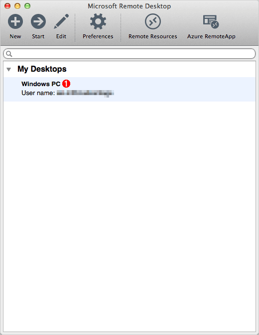 [Microsoft Remote Desktop]ウィンドウの画面