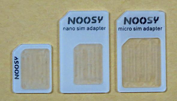 3種類のSIMカードアダプター