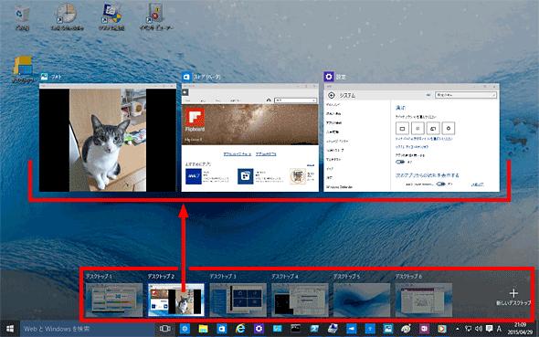 Windows 10にはマルチデスクトップ機能が標準装備される