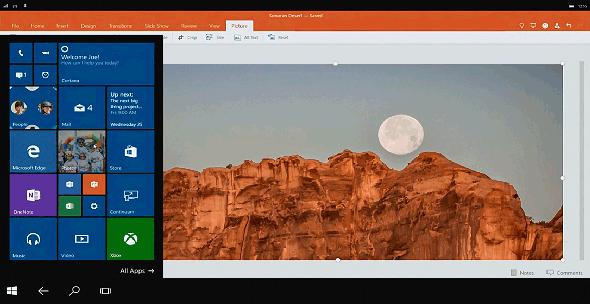 Windows Phone向けのContinuumによる画面表示