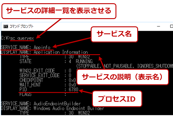 sc queryexによる詳細情報の表示