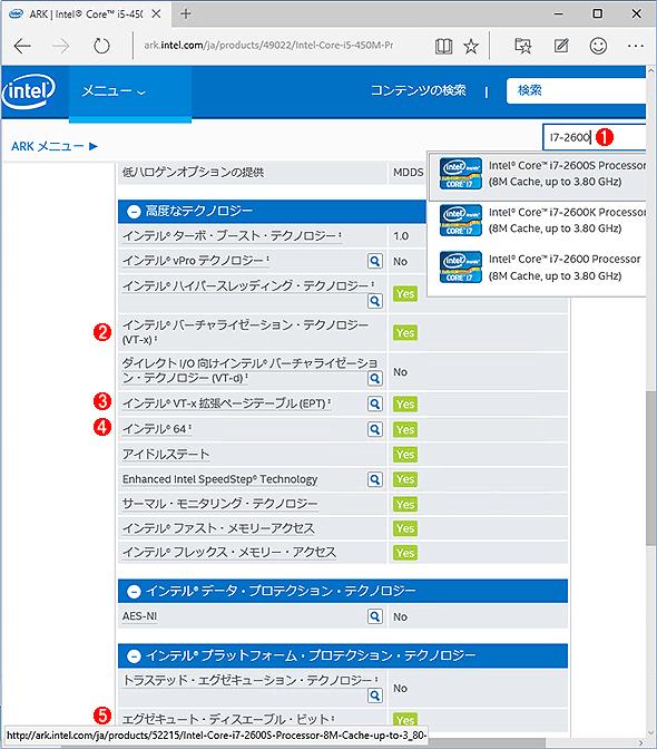 CPUのスペック情報