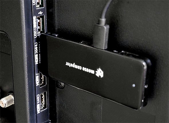 液晶テレビに接続したスティックPC