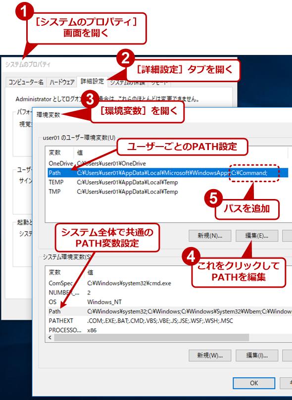 バッチファイルの場所をPATH環境変数に登録する