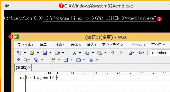 実行中のバッチファイルのウィンドウが表示された状態