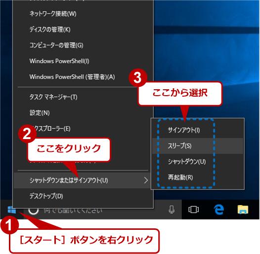 Windows 10でスタートボタンを右クリックしてシャットダウン/再起動/サインアウトする