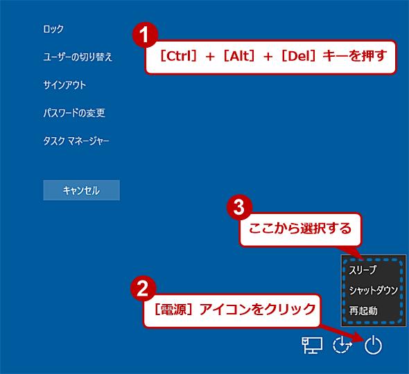 Windows 10で[Ctrl]+[Alt]+[Del]キーを押してシャットダウン/再起動/サインアウトする