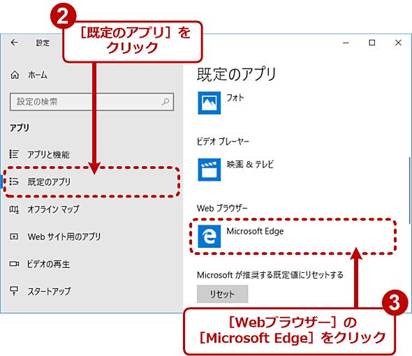 Windows 10のデフォルトのWebブラウザを変更する(2/4)