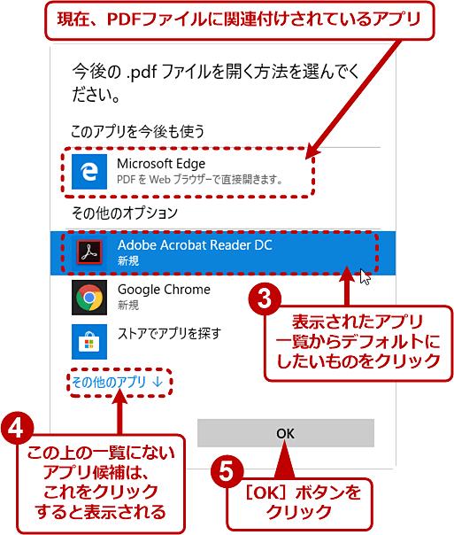 デフォルトのPDFビュワーをMicrosoft Edgeから別のアプリに変更する(2/2)