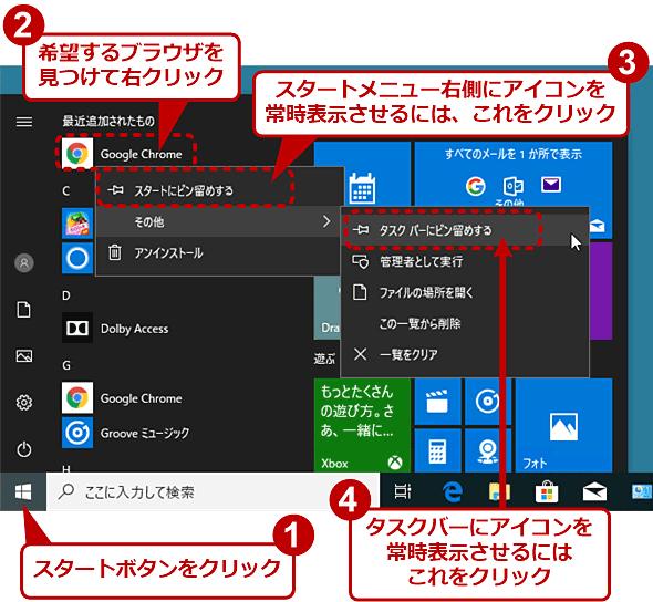 スタートメニュー右側やタスクバーに希望のWebブラウザ起動用アイコンを表示させる