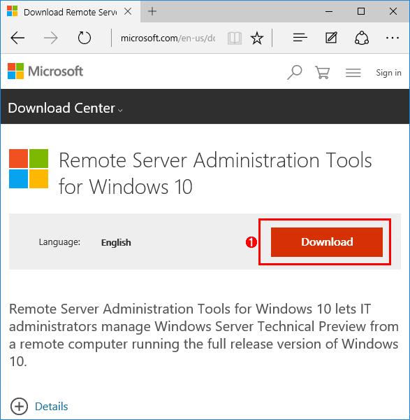 Windows 10用RSATのインストーラーをダウンロードする