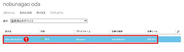 Azureの管理ポータルに表示されたAzure AD参加デバイス