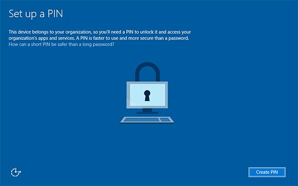 Azure AD参加後のWindows 10のPIN設定画面