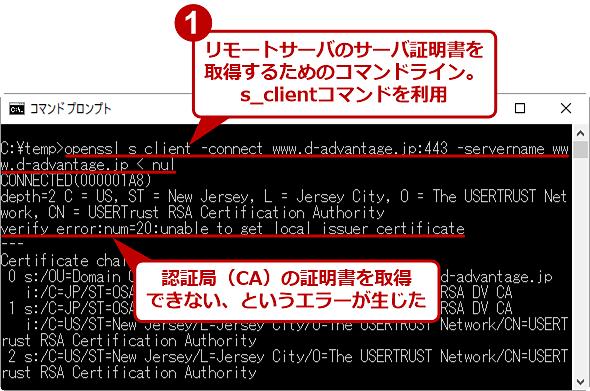 CA証明書を用意していない場合に生じるopenssl.exeのエラーの例