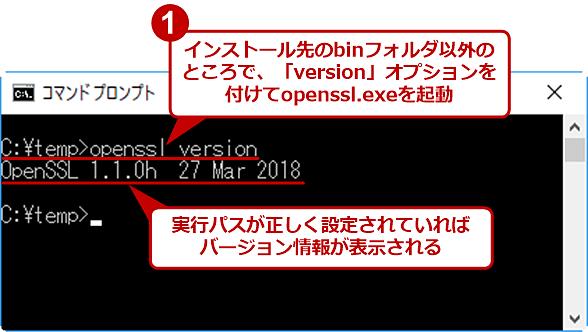 openssl.exeが実行できるか確認する