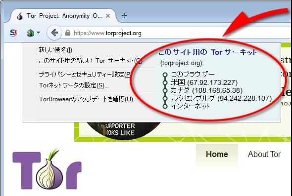 Torブラウザによるアクセス例