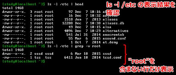 画面1 「ls ,l /etc」の実行結果から、「root」という文字列を含まない行(「,v」オプション)だけを表示する