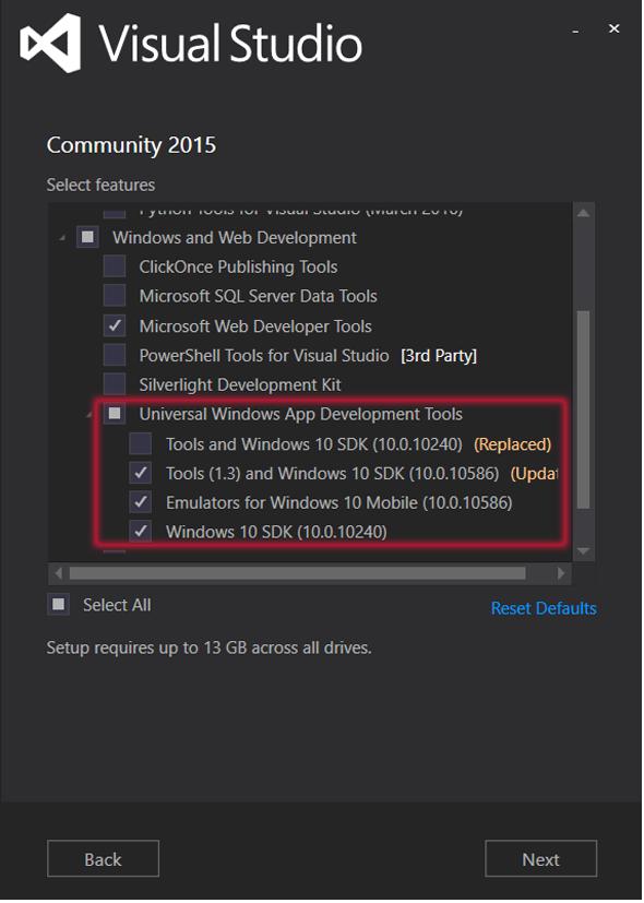 図7 「Universal Windows App Development Tools」の項目が表示される