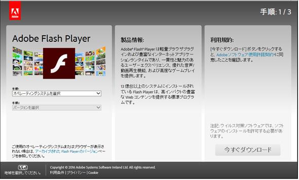 図1 Flash Playerのダウンロードページ