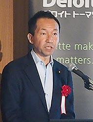 登壇した福田峰之衆議院議員