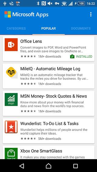 Microsoft Appsの画面