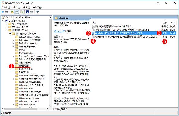 OneDriveを無効にするポリシー設定(1)