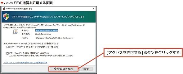 Java SEの通信を許可する画面