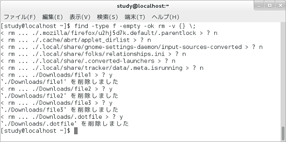 画面2 rmコマンドでホームディレクトリ下の空のファイルを確認しながら削除しているところ