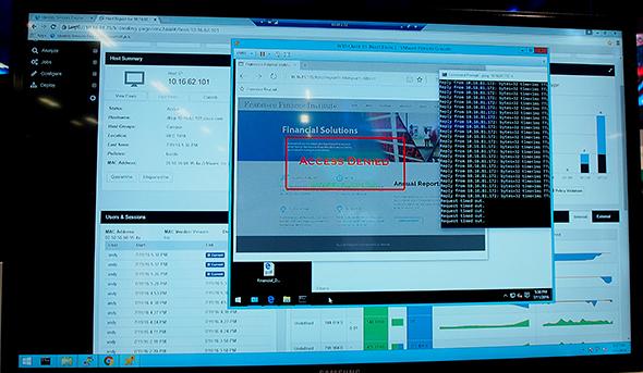 「Cisco Umbrella Branch」のデモ。DNS情報を参照し、不正なサイトへアクセスを試みるとブロックする仕組みだ