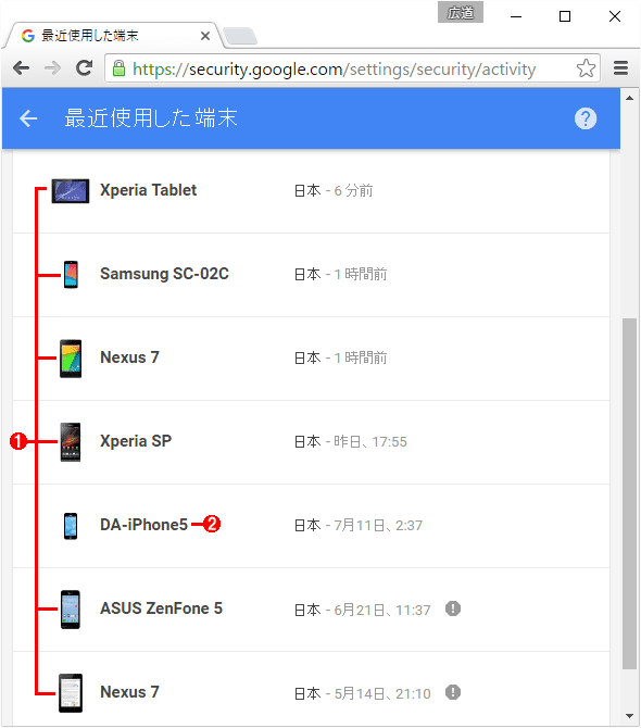Googleのサービスに表示されるAndroid端末