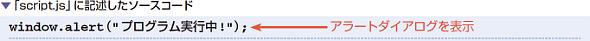 「script.js」に記述したソースコード