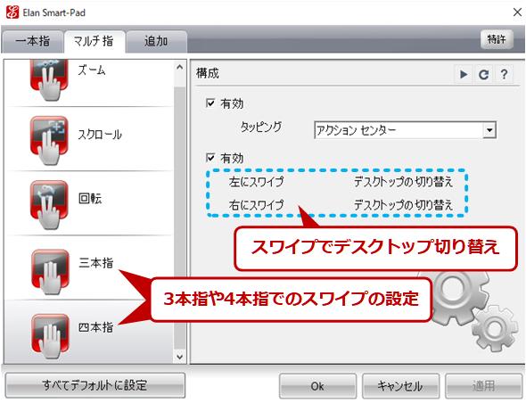 スワイプによるタスクビューの操作機能の例