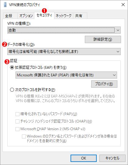 追加した<VPN接続名>のプロパティの画面