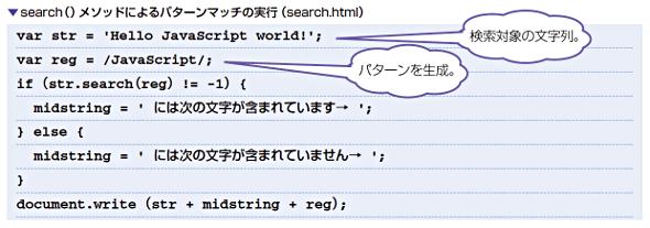search()メソッドによるパターンマッチの実行(search.html)